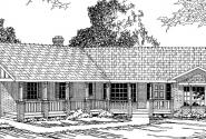 Saginaw - 10-251 - Ranch Home Plans - Front Elevation