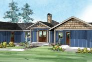 Edgewater - 10-578 - Prairie Home Plan - Front Elevation