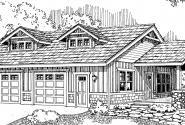 Garage w/Hobby Room- 20-034 - Garage Plans - Front Elevation
