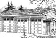 6 car Garage - 20-038 - Garage Plans - Front Elevation