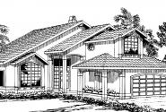 Santa Clara - 50-003 - Contemporary Home Plans - Front Elevation