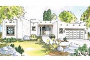 Southwest House Plan - Mesa Verde 11-126 - Front Elevation