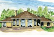 Spanish Style House Plan - Santa Ana 11-148 - Rear Elevation