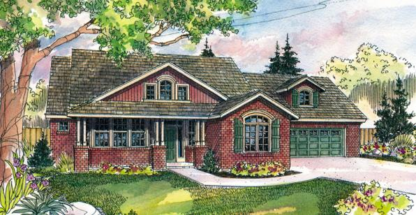 Heartsong - 10-470 - Craftsman Home Plans - Front Elevation