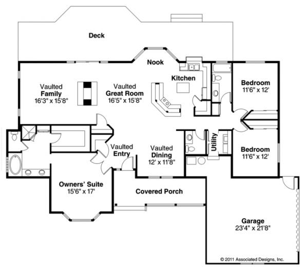 Ranch House Plan - Eastport 10-548 - Floor Plan