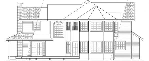 Melville - 10-096 - Country Home Plans - Rear Elevation