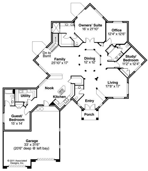 Flora Vista - 10-546 - Mediterranean Home Plans - Floor Plan