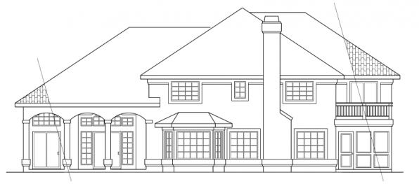 Stanfield - 11-084 - Spanish Home Plans - Rear Elevation