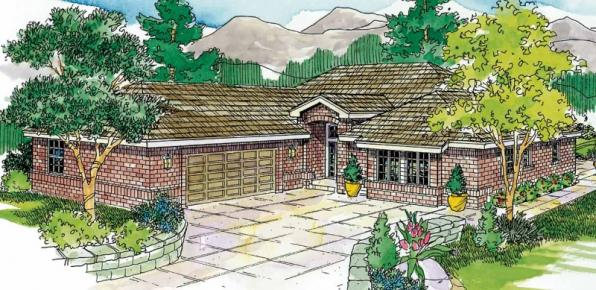 Crosbyton - 11-136 - Traditional Home Plans - Front Elevation
