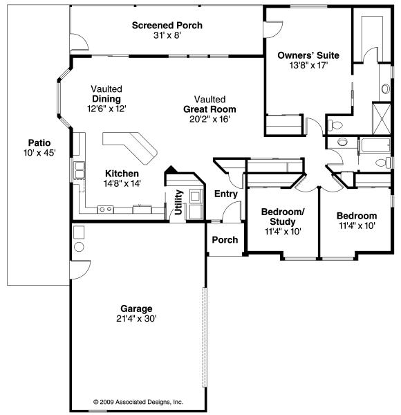 Crosbyton - 11-136 - Traditional Home Plans - Floor Plan