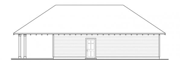 Garage w/Carport - 20-033 - Garage Plans - Rear Elevation