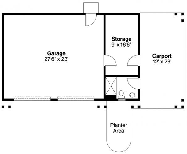 Garage w/Carport - 20-033 - Garage Plans - Floor Plan