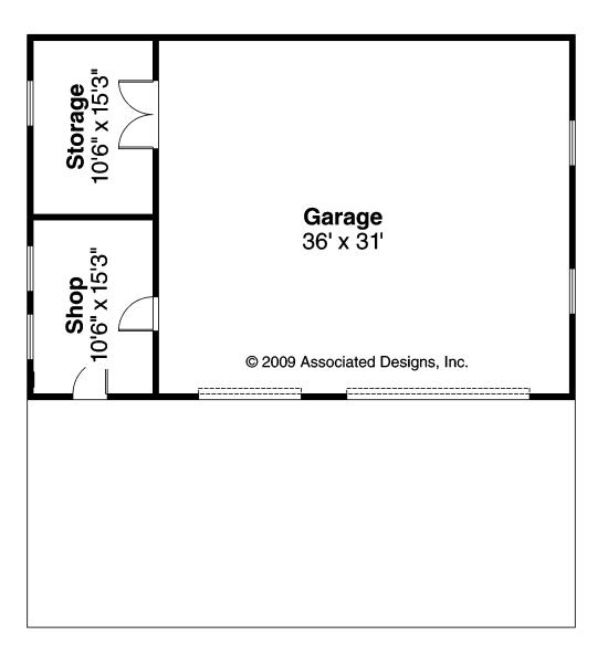 Garage w/Shop & Storage - 20-050 - Garage Plans - Floor Plan