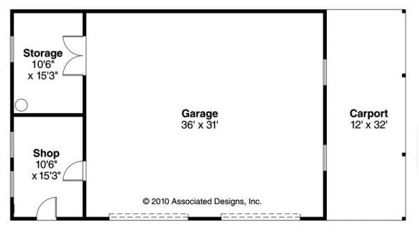 2 car Garage w/Carport - 20-066 - Garage Plans - Floor Plan