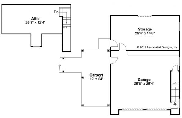2 car Garage w/Carport - 20-075 - Garage Plans - Floor Plan