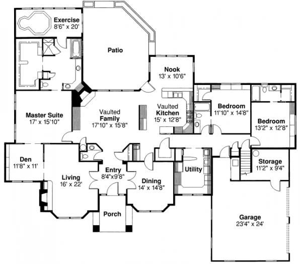 Brentwood - 30-007 - Classic Home Plans - Floor Plan