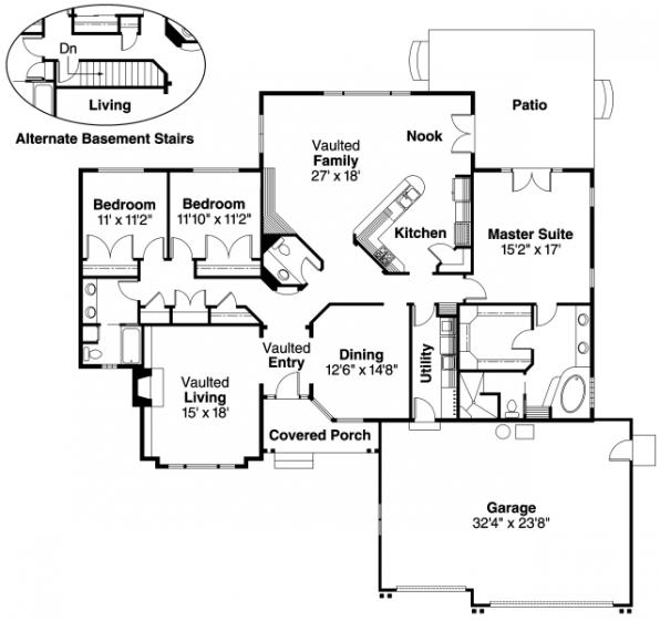 Jessica - 30-049 - Traditional Home Plans - Floor Plan