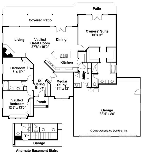 Palermo - 30-160 - Contemporary Home Plan - Floor Plan