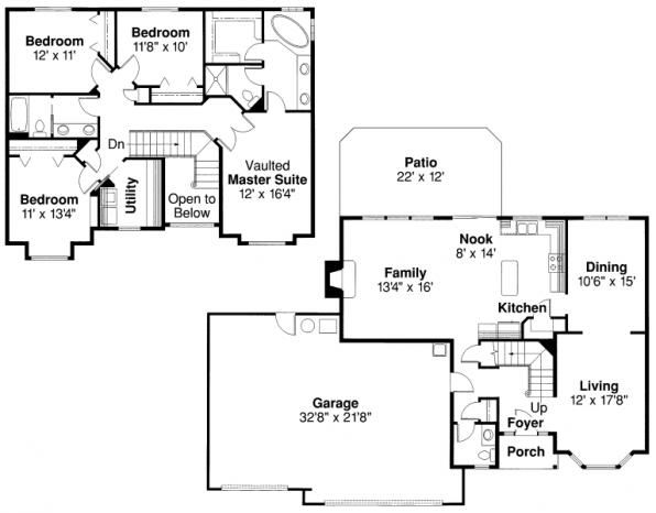 Westhaven - 30-173 - Traditional Home Plan - Floor Plan