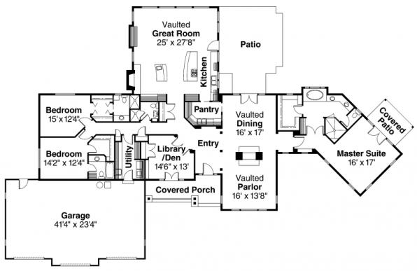 Bellewood - 30-292 - Ranch Home Plan - Floor Plan