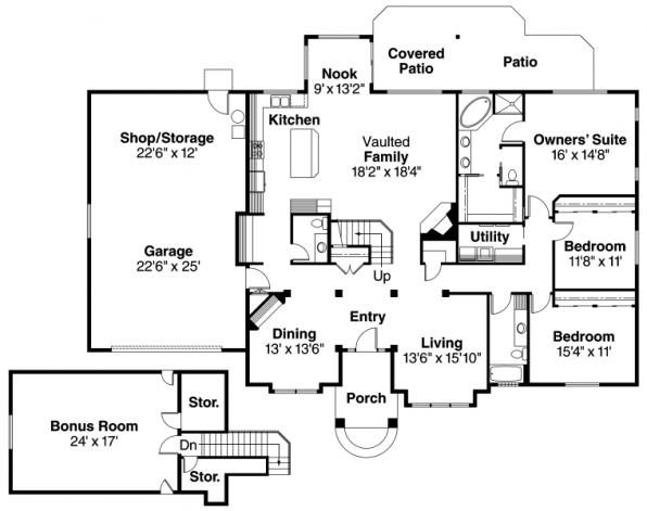 Vicksburg - 30-567 - Traditional Home Plan - Floor Plan