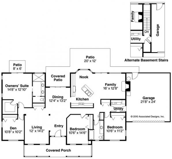 Redmond - 30-226 - Country Home Plan - Floor Plan