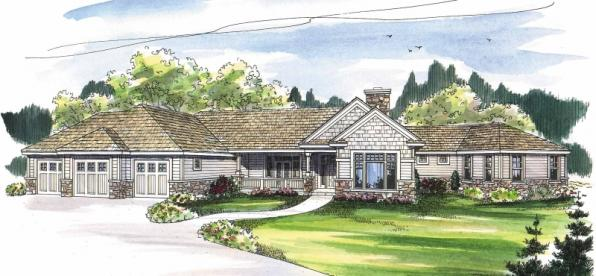 Bellewood - 30-292 - Ranch Home Plan - Front Elevation