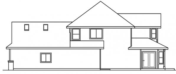 Edmonton - 30-342 - European Home Plan - Right Elevation