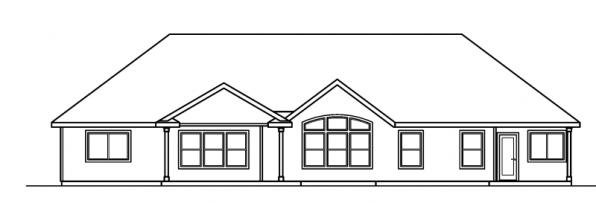 Haverford - 30-373 - Ranch Home Plan - Rear Elevation