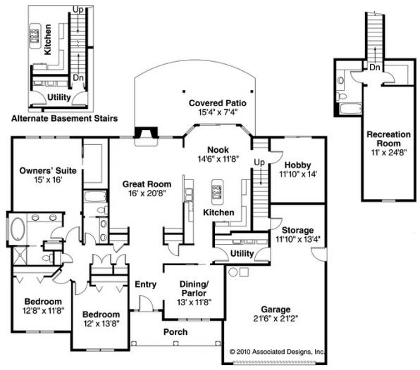 Davidson - 30-384 - Traditional Home Plan - Floor Plan