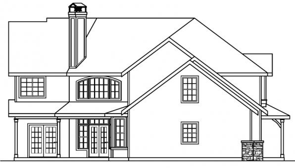 Rutherford - 30-411 - Craftsman Home Plan - Left Elevation