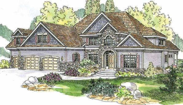 Yorkshire - 30-505 - European Home Plan - Front Elevation