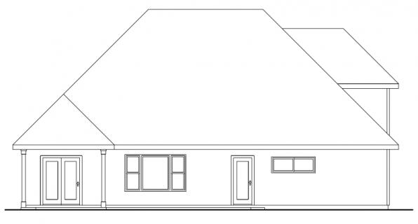 Wilsonville - 30-517 - Craftsman Home Plan - Rear Elevation