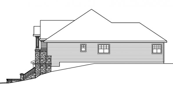 Pennington - 30-602 - European Home Plan - Right Elevation