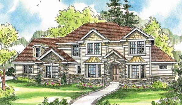 Westchase - 30-624 - European Home Plan - Front Elevation