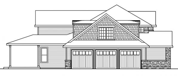 Westchase - 30-624 - European Home Plan - Left Elevation