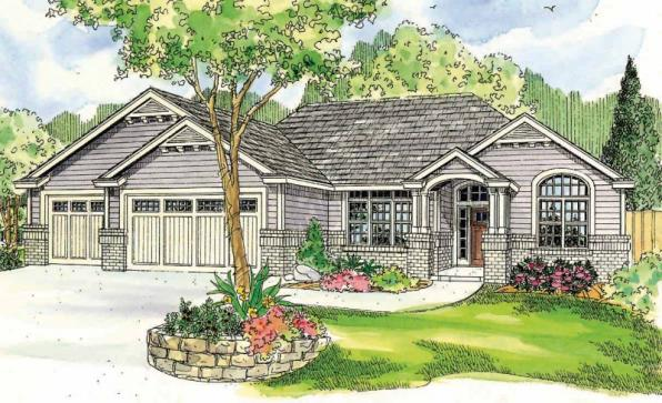Windsor - 30-678 - Ranch Home Plan - Front Elevation