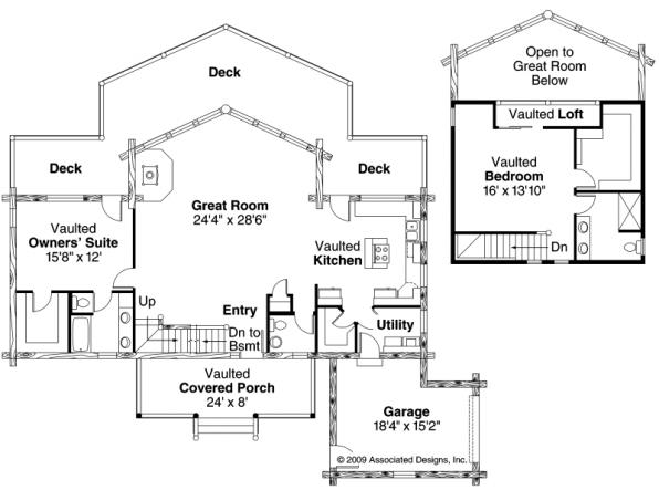 Kodiak - 30-697 - A-Frame House Plan - Floor Plan