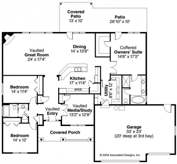 Ambrose - 30-736 - Traditional Home Plan - Floor Plan