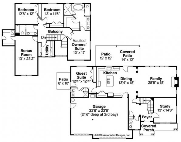 Oakridge - 30-761 - Craftsman Home Plan - Floor Plan
