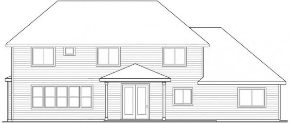 Oakridge - 30-761 - Craftsman Home Plan - Rear Elevation