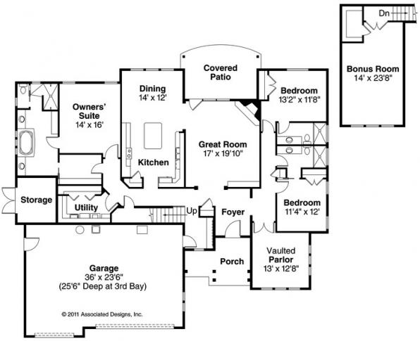 Gladstone - 30-786 - Cottage Home Plan - Floor Plan