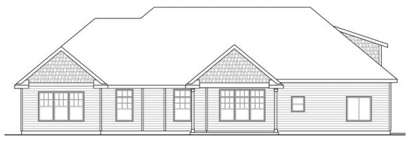 Willamette - 30-788 - Cottage Home Plan - Rear Elevation