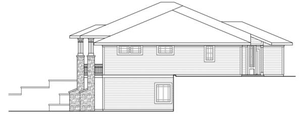 Northshire - 30-808 - Prairie Home Plan - Right Elevation