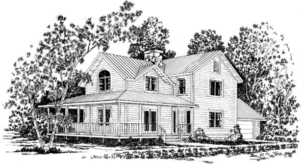 Eldora - 41-005 - Country Home Plans - Front Elevation