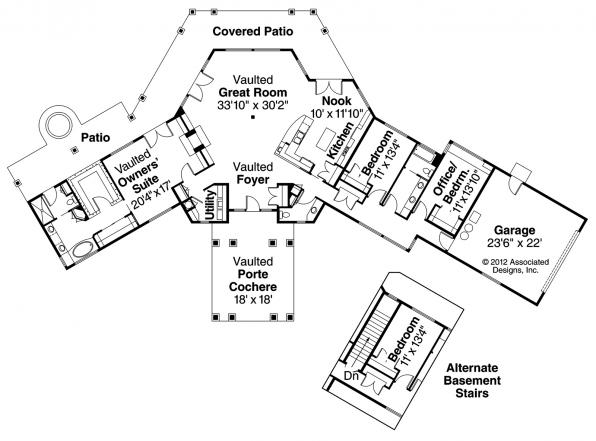Aberdeen - 10-428 - Hexagonal Home Plan - Floor Plan