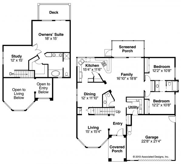 Warrington - 11-036 - Southwestern Home Plan - Floor Plan