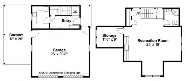 Garage w/Recreation Room - 20-111 - Garage Plan - Floor Plan
