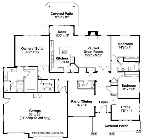 Oak Hill - 30-810 - Ranch Home Plan - Floor Plan