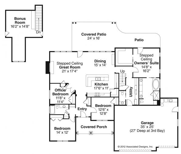 Jamestown - 30-827 - Ranch Home Plans - Floor Plan